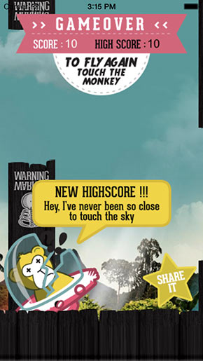 FLAPPY MONKEY : Makes new highscores and share it